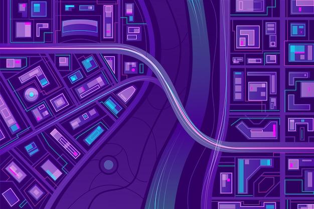Brug op stadsplattegrond Gratis Vector