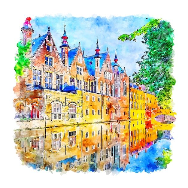 Brugge belgië aquarel schets hand getrokken Premium Vector