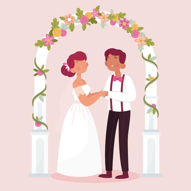 Bruid en bruidegom die gehuwde illustratie worden Gratis Vector