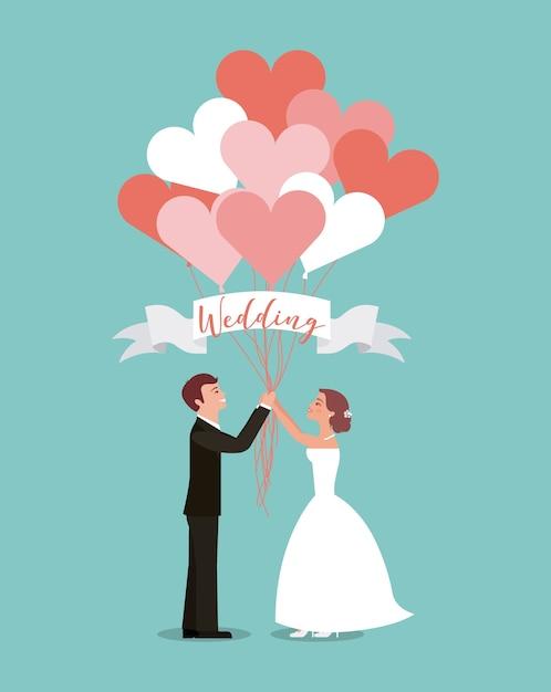 Bruid En Bruidegom Met Ballonnen Hart Huwelijksdag Vector