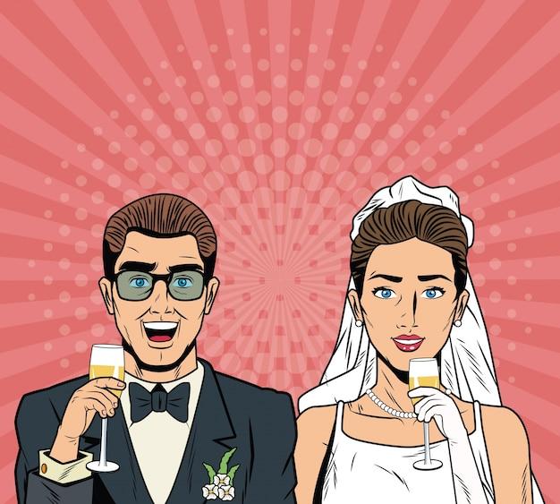 Bruid en bruidegom popart cartoon Premium Vector