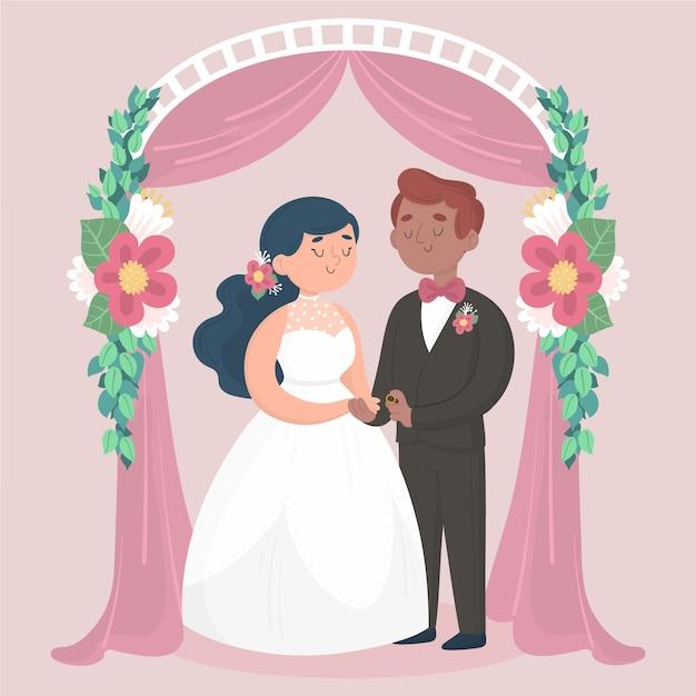 Bruid en bruidegom trouwen Gratis Vector