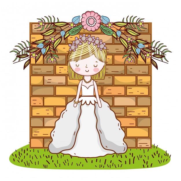 Bruid vrouwelijke schattige cartoon Premium Vector