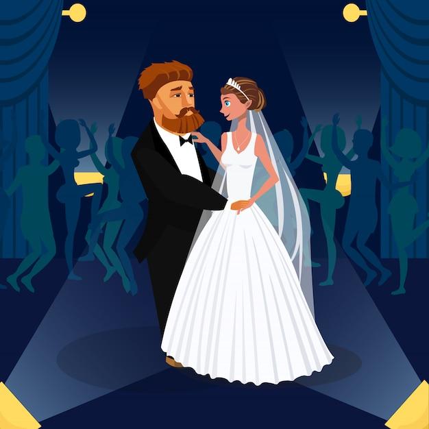 Bruidegom en bruid knuffelen Premium Vector