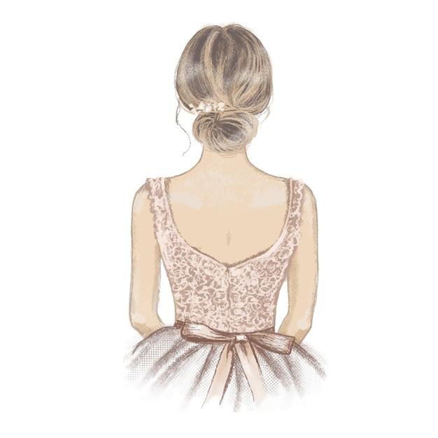 Bruidsmeisje handgeschilderde illustratie Premium Vector