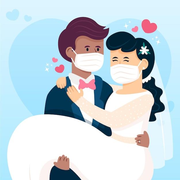 Bruidspaar dat gezichtsmaskers draagt Gratis Vector