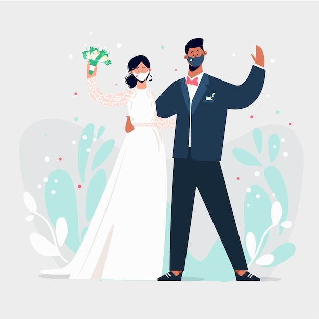 Bruidspaar dragen gezichtsmaskers Gratis Vector