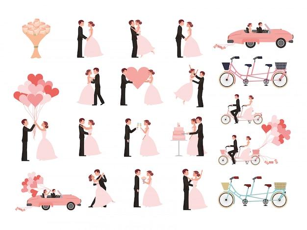 Bruidspaar en getrouwde pictogrammen Gratis Vector