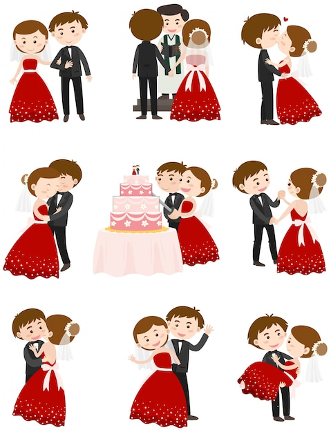 Bruidspaar in verschillende acties Gratis Vector