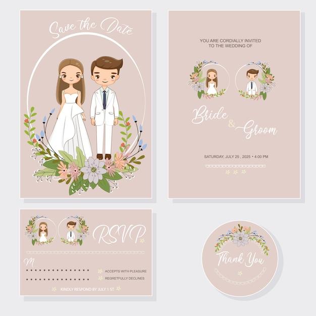 Bruidspaar met uitnodigingen kaartenset Premium Vector