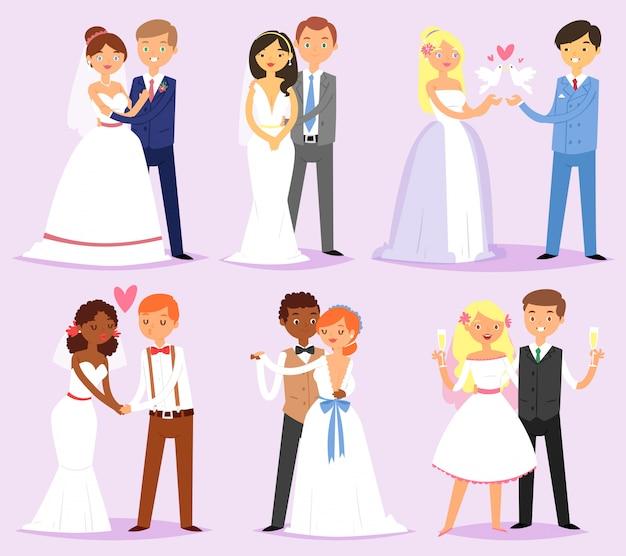 Bruidspaar vector getrouwde bruid of verloofde en bruidegom of verloofde tekens op wo illustratie set liefdevolle man en vrouw in trouwjurk op huwelijksfeest geïsoleerd op achtergrond Premium Vector