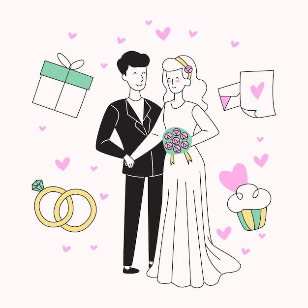 Bruidsparen in de hand getekende stijl Gratis Vector
