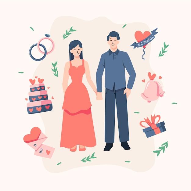 Bruidsparen in plat ontwerp Gratis Vector