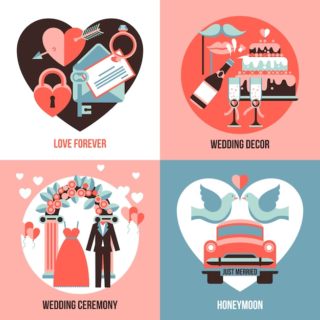 Bruiloft 2x2 afbeeldingen set Gratis Vector