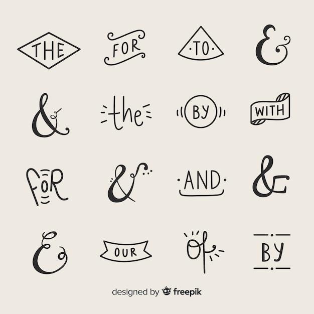 Bruiloft ampersands en steekwoorden belettering Gratis Vector