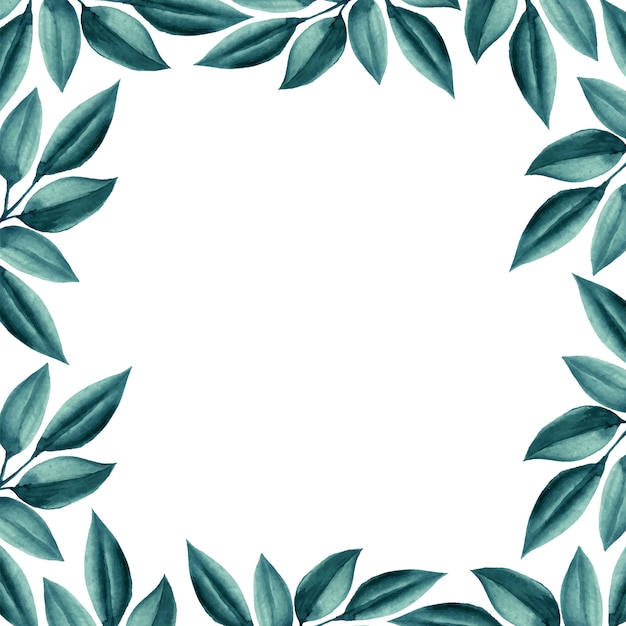 Bruiloft aquarel groene bladeren frame. Gratis Vector