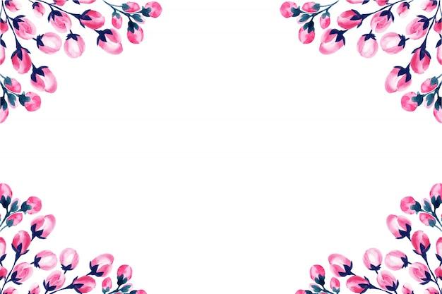 Bruiloft aquarel roze bloemen frame. Gratis Vector