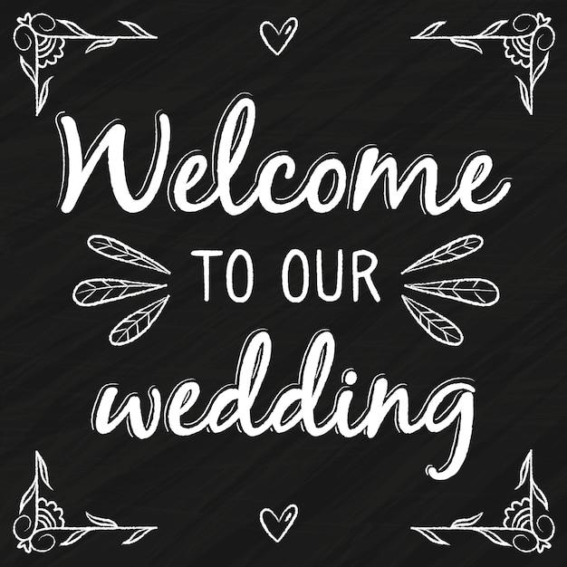 Bruiloft belettering met welkomstbericht Gratis Vector