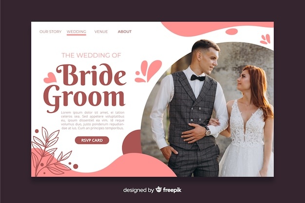 Bruiloft bestemmingspagina met foto Gratis Vector