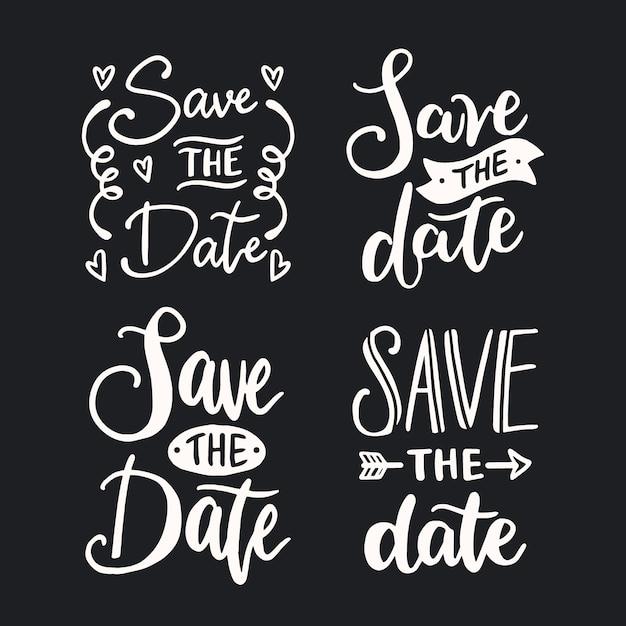 Bruiloft bewaar de datum belettering collectie Gratis Vector
