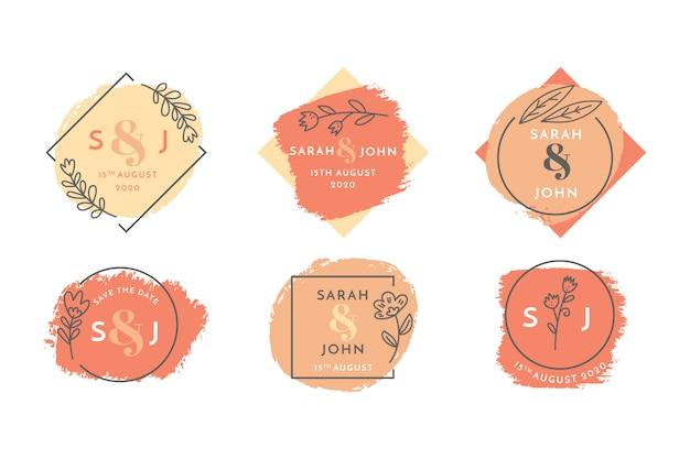Bruiloft bloemen badge set Gratis Vector