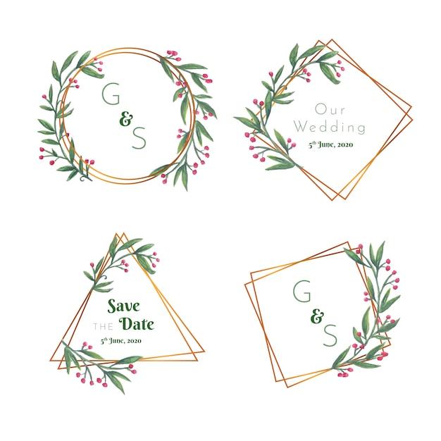 Bruiloft bloemen badges met gouden frame Gratis Vector
