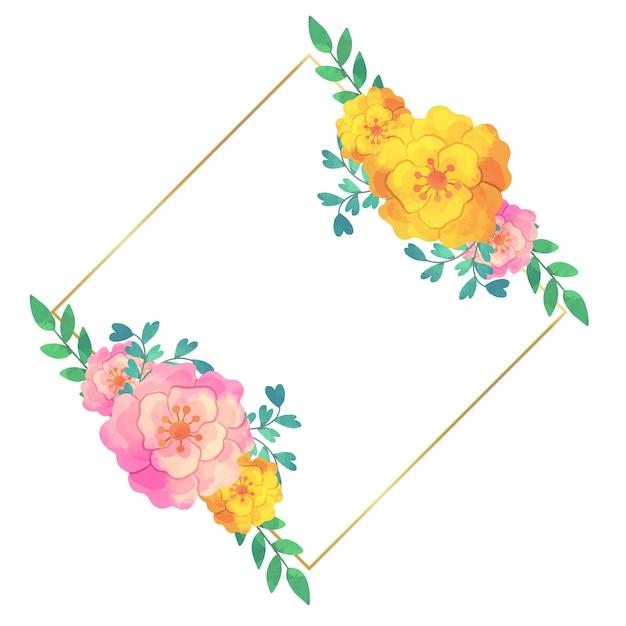 Bruiloft bloemen frame ontwerp Gratis Vector