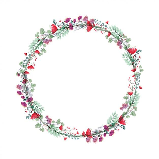 Bruiloft bloemen frame Premium Vector