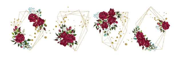 Bruiloft bloemen gouden geometrische driehoekige frame met bordo bloemen rozen en groene bladeren geïsoleerd Gratis Vector