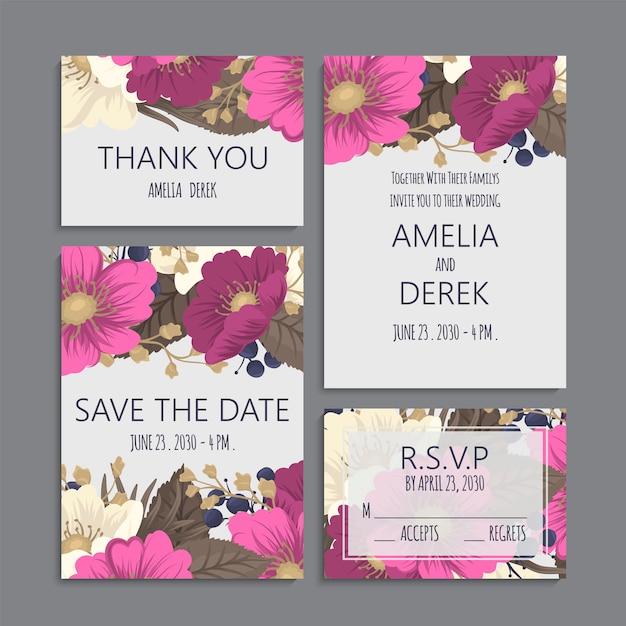 Bruiloft bloemen grenzen instellen hete roze bloemen Gratis Vector