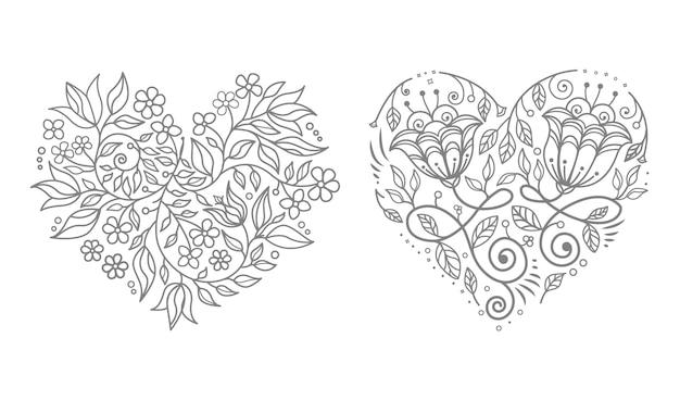 Bruiloft bloemen hart Premium Vector