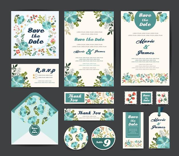 Bruiloft bloemen sjabloon Premium Vector
