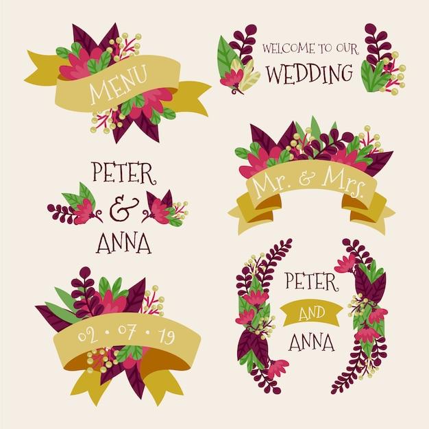 Bruiloft bloemenetiketten Gratis Vector