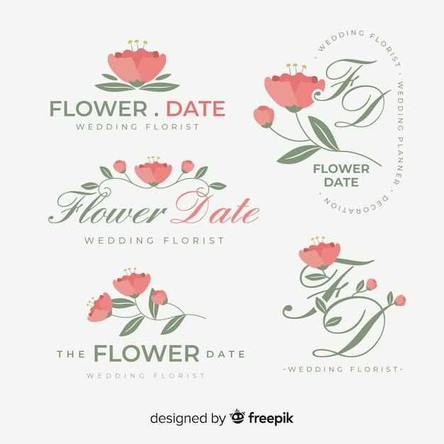 Bruiloft bloemist logo sjabloon collectie Gratis Vector