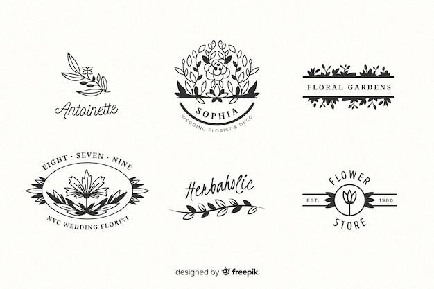 Bruiloft bloemist logo templates-collectie Gratis Vector
