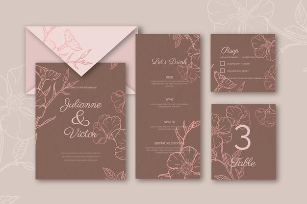 Bruiloft briefpapier ingesteld sjabloon Gratis Vector