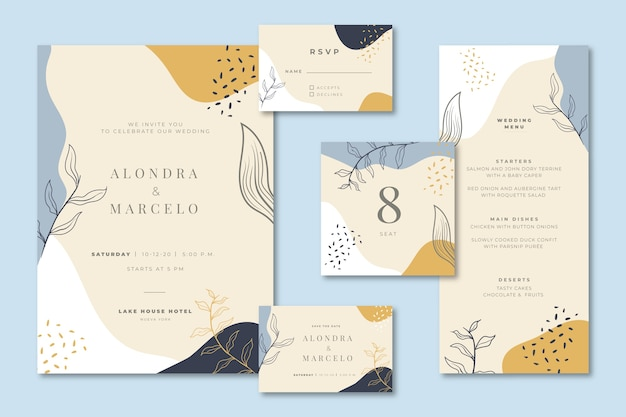 Bruiloft briefpapier met uitnodiging en menu Gratis Vector