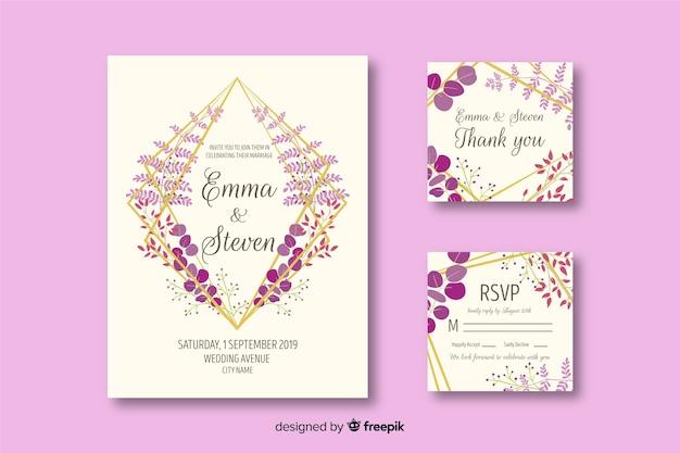 Bruiloft briefpapier sjabloon op platte ontwerp Gratis Vector