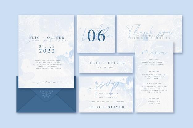 Bruiloft briefpapier sjabloon Gratis Vector