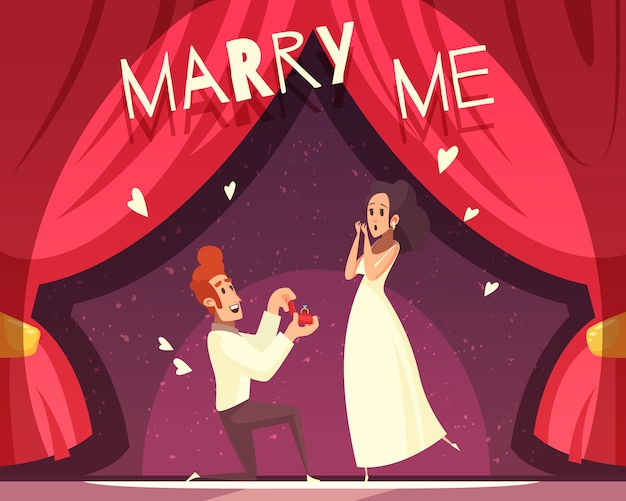 Bruiloft cartoon illustratie Gratis Vector
