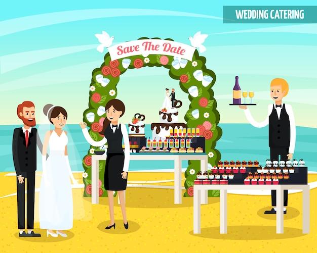 Bruiloft catering orthogonale platte samenstelling Gratis Vector