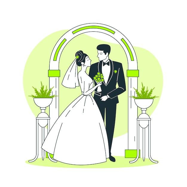 Bruiloft concept illustratie Gratis Vector