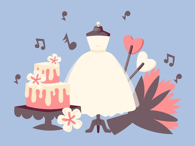Bruiloft dag uitnodiging set met bruidstaart, boeket bloemen, noten van muziek en witte jurk. Premium Vector