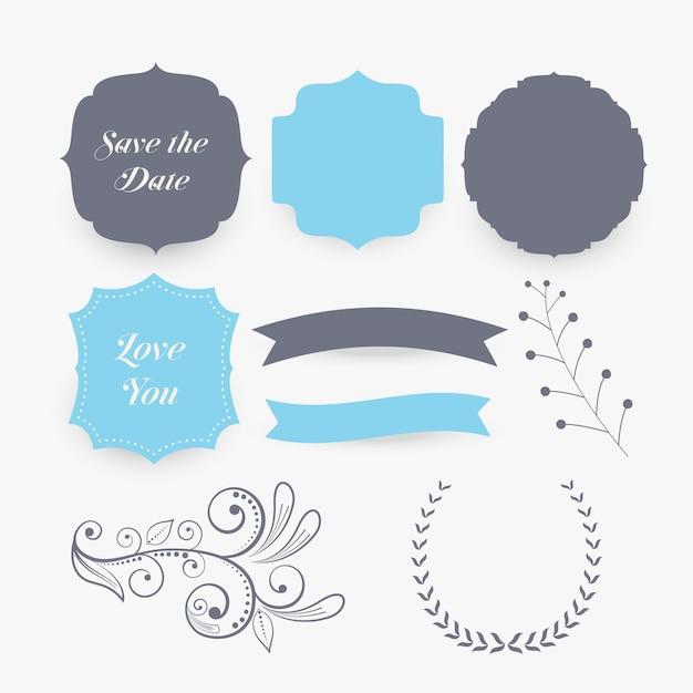 Bruiloft decoratie elementen en labels Gratis Vector