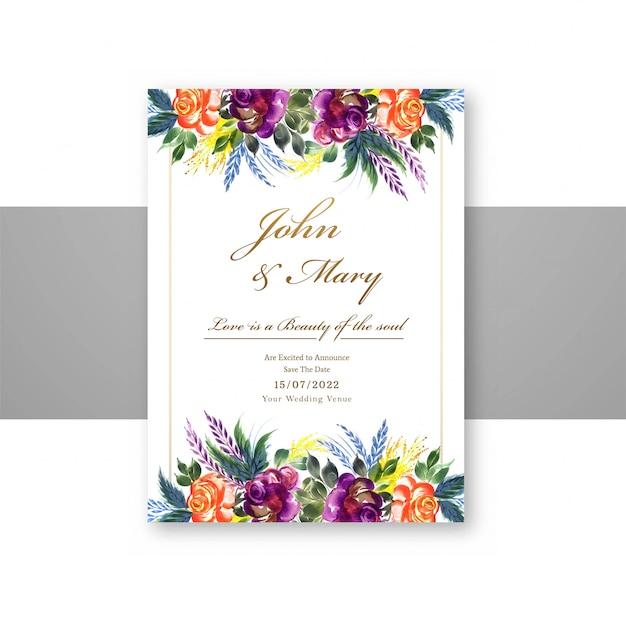 Bruiloft decoratieve bloemen slaan de datum op menukaartsjabloon Gratis Vector