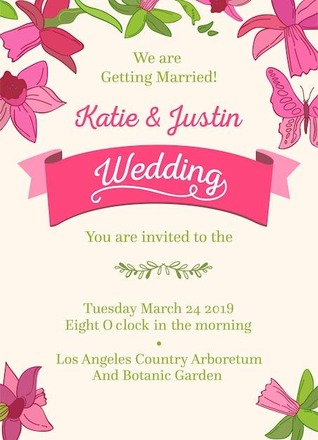 Bruiloft decoratieve ontwerp uitnodigingskaart op wit en veelkleurige woorden over bruiloft van twee gasten datum uur en plaats van feest Gratis Vector