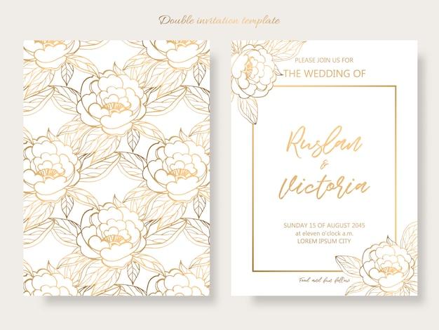 Bruiloft dubbele uitnodiging sjabloon met gouden decoratieve elementen Premium Vector
