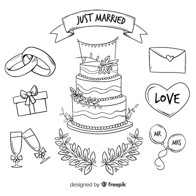 Bruiloft element collectie Gratis Vector
