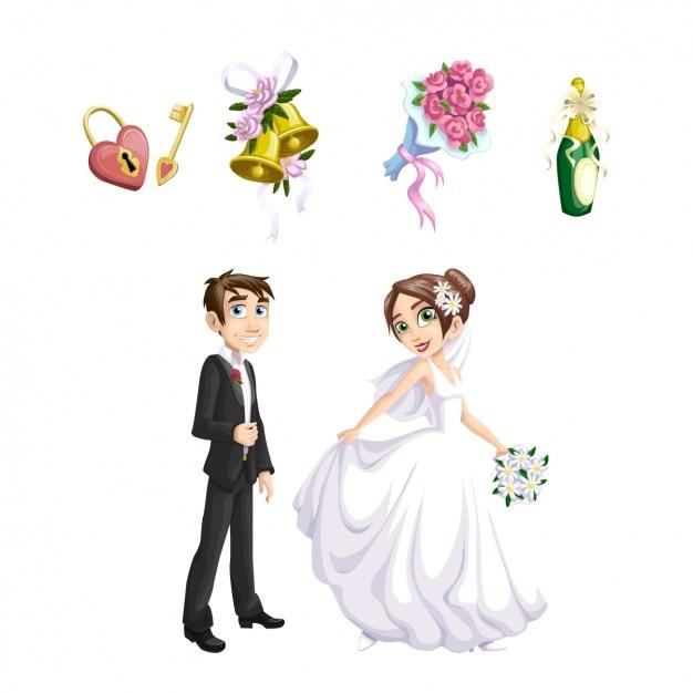 Bruiloft elementen collectie Gratis Vector