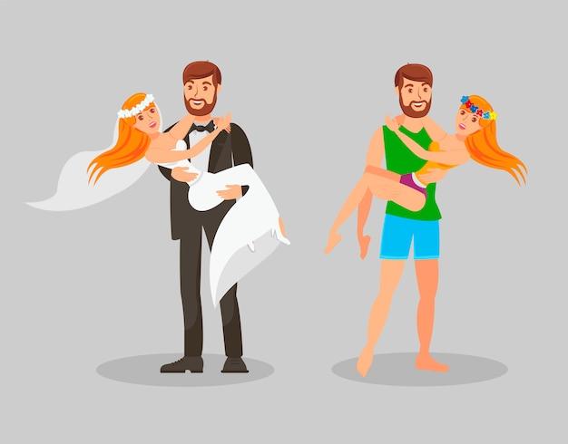 Bruiloft en huwelijksreis platte vectorillustratie Premium Vector